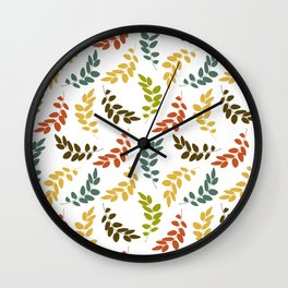 Colorful Leaves, Leaf Pattern - Blue Green Yellow Wall Clock