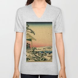 Japanese teahouse after the snow Unisex V-Neck