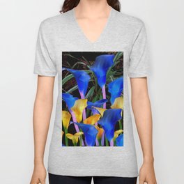 BLACK MODERN ABSTRACT BLUE & GOLD CALLA LILIES Unisex V-Neck