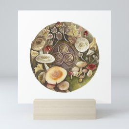 Mushroom circle with a Triskel Mini Art Print