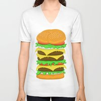 novelty V-neck T-shirts featuring Burger Sandwich by Berberism