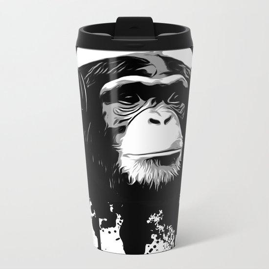 Monkey Business - White Metal Travel Mug