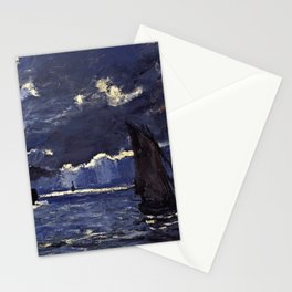 Claude Monet - A Seascape, Shipping By Moonlight Stationery Cards