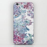 boston map iPhone & iPod Skins featuring Boston map by MapMapMaps.Watercolors