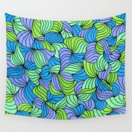 Green Waves Wall Tapestry