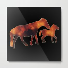 Cosmic Ponies - Mother and Foal Metal Print
