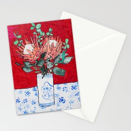 Delft Bird Vase of Proteas on Red Stationery Cards