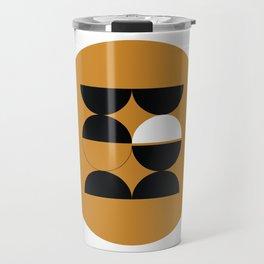 Tan Circular Composition Travel Mug