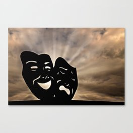 The masks of the theater signify comedy and tragedy, happiness and sadness, Pathos. Canvas Print
