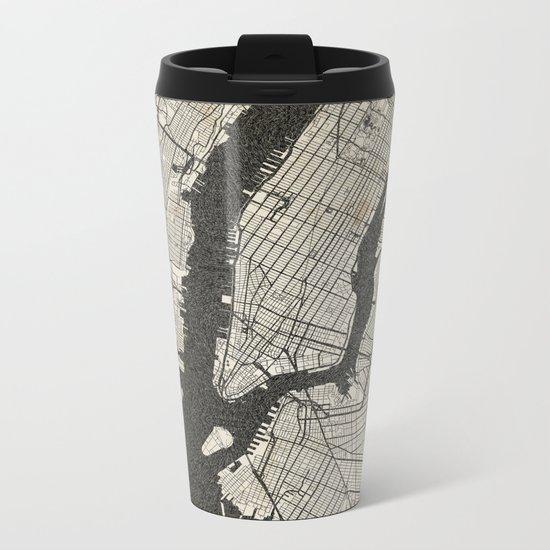 New York - Ink lines Metal Travel Mug