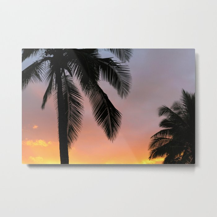 Ocean Shore Palms Metal Print