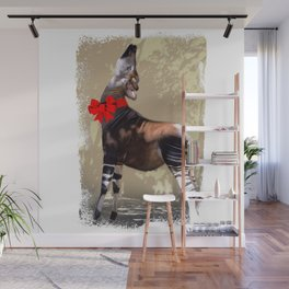 Okapi  with Red Bow Wall Mural