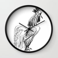 rooster Wall Clocks featuring Rooster by Boris Burakov