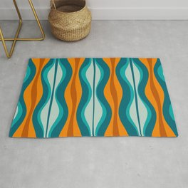 Hourglass Mid Century Modern Abstract Pattern in Turquoise, Aqua, Orange, and Rust Rug
