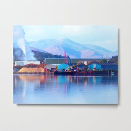 Industrial reflection at mountains edge Metal Print