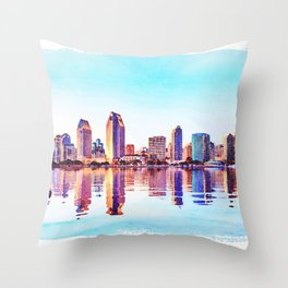Watercolor of San Diego Skyline at dusk Throw Pillow