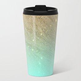 Elegant gold faux glitter chic teal gradient  trendy pattern Travel Mug