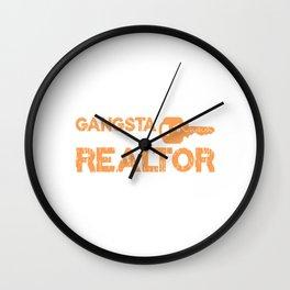 Gangsta Realtor Real Estate Realty Realtor Agent Property Building Land Key House T-shirt Design Wall Clock