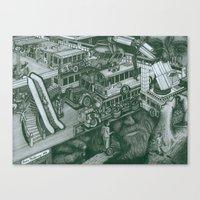 volkswagon Canvas Prints featuring Hippie Bus Apartments by Richie Montgomery