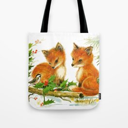 Cute Vintage Christmas Foxes Tote Bag