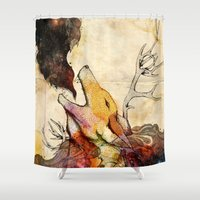 howl Shower Curtains featuring Howl by Lucy Wood - White Rabbit Says
