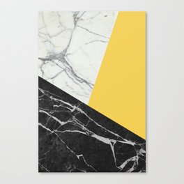 Black and White Marble with Pantone Primrose Yellow Canvas Print