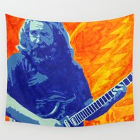 grateful dead Wall Tapestries featuring Jerry Garcia - The Grateful Dead by Tipsy Monkey