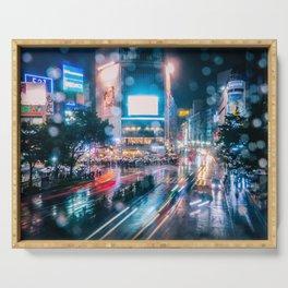 Rainy Night at Shibuyacrossing - throught the window Serving Tray