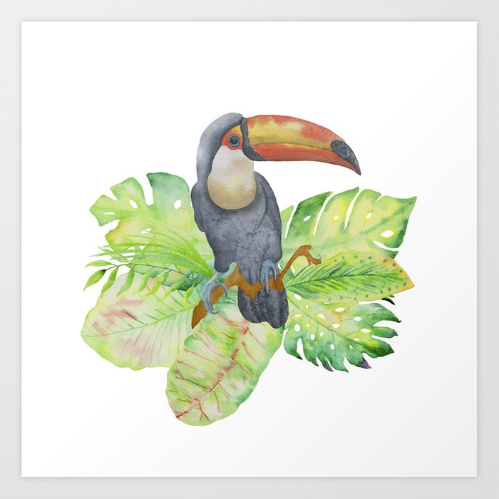 Toucan tropical and exotic Bird on #Society6 Art Print