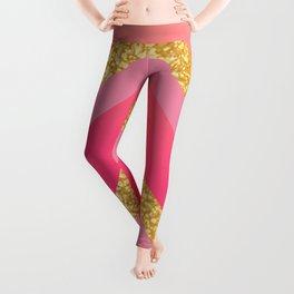 Pink, Rosé, Coral, Gold Triangles - Ombré Watercolor Leggings