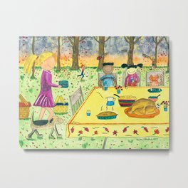 Thanksgiving in the Park Metal Print