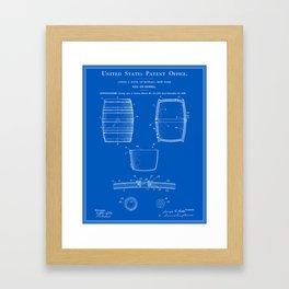 Beer Keg Patent - Blueprint Framed Art Print
