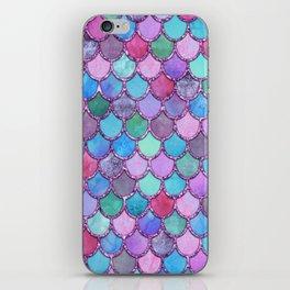 Colorful Pink Glitter Mermaid Scales iPhone Skin