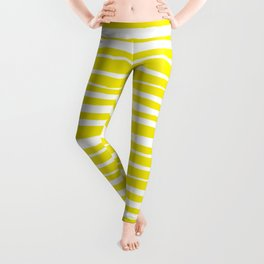 Small Sun Yellow Handdrawn horizontal Beach Stripes - Mix and Match with Simplicity of Life Leggings