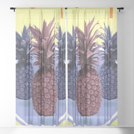 Pineapple Print - Tropical Decor - Botanical Print - Pineapple Wall Art - Yellow, Blue - Minimal Sheer Curtain
