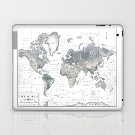 The World [Black and White Relief Map] Laptop & iPad Skin