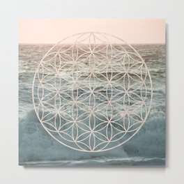Mandala Flower of Life Sea Metal Print
