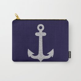 White Anchor on Blue Background Carry-All Pouch