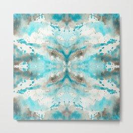 Artistic teal white gray paper watercolor pattern Metal Print