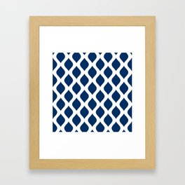 Dark blue and white curved lines pattern Framed Art Print
