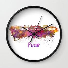 Pune skyline in watercolor Wall Clock