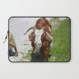 Whimsical Portrait of a Horned Goat Grazing Laptop Sleeve