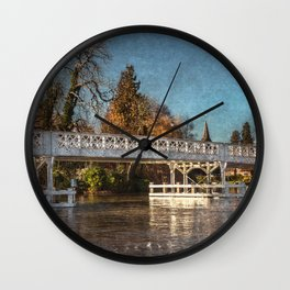 The Toll Bridge At Whitchurch-on-Thames Wall Clock