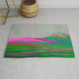 Clouds Rolling In Abstract Landscape Pink Rug