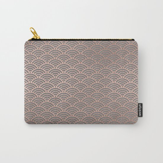 Rosegold mermaid pattern-on grey backround Carry-All Pouch