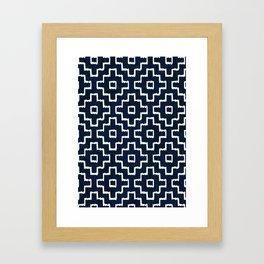 Blue Geometric Pattern Framed Art Print