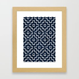 Blue Geometric Pattern Framed Art Print