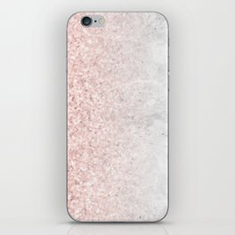 Blush Pink Sparkles on White and Gray Marble iPhone Skin