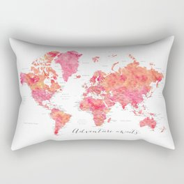 "Adventure Awaits watercolor world map in hot pink and orange, ""Tatiana"" Rectangular Pillow"