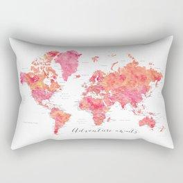 "Adventure Awaits watercolor world map in hot pink and orange, ""Tatiana"" Rectangular Pillow"